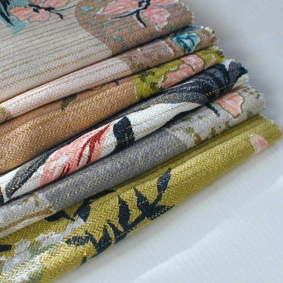 Mid Century Fabric Sample Swatches set of six