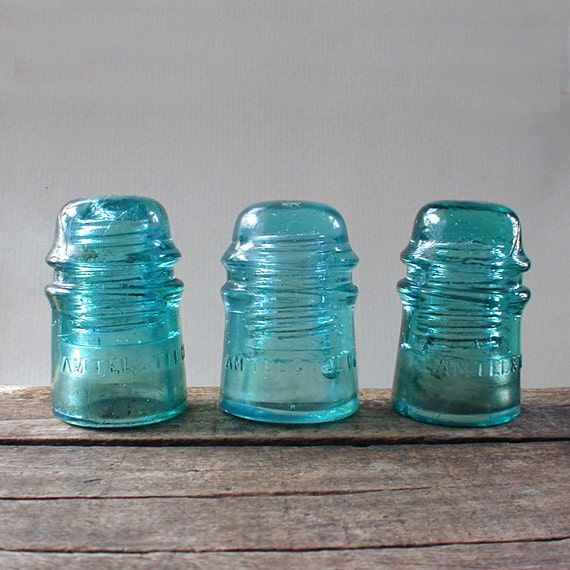 Glass Insulators Aqua Lot of Three
