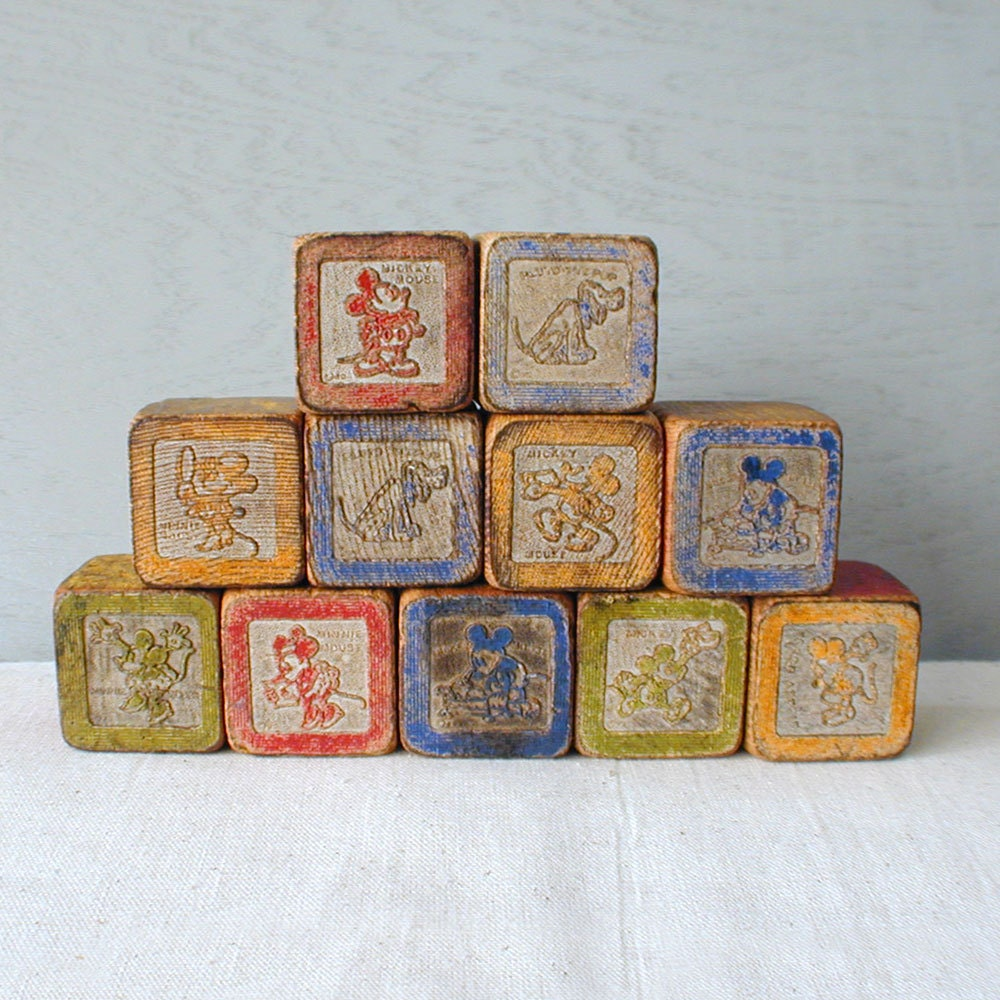 disney antique wood blocks minnie mickey mouse 1930s