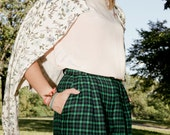 Sale & Free US Shipping emerald green plaid high-waisted wool shorts