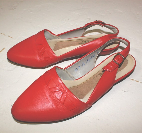 red pointed toe strap back flats