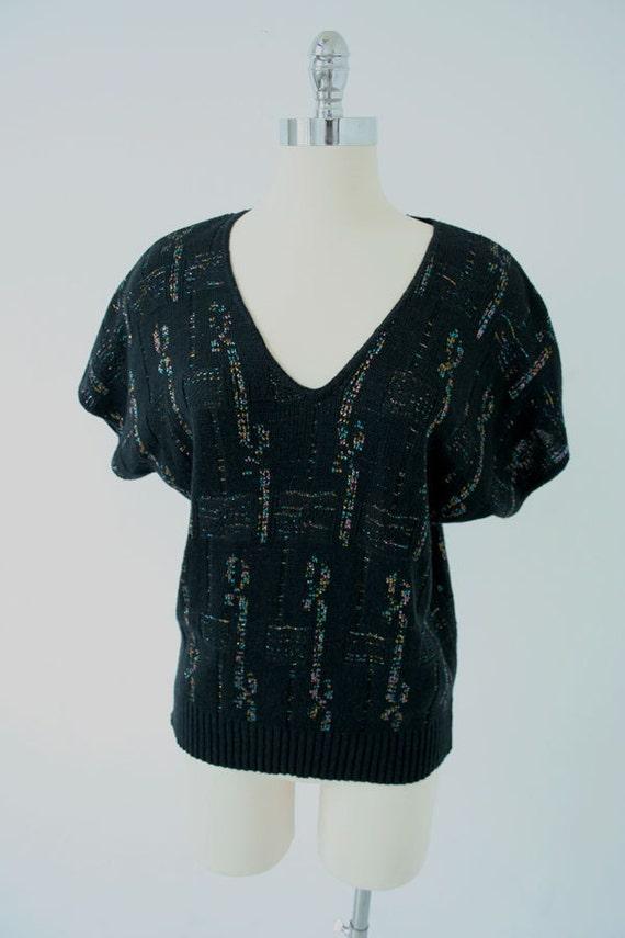 SALE & FREE SHIPPING  black V slouchy metallic rainbow sweater tee