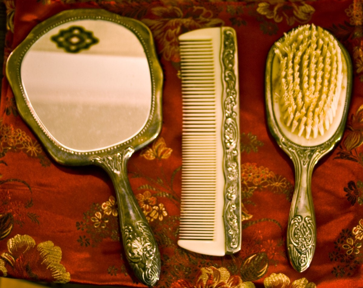 Sale Antique Silver Vanity Set W Brush Comb And By 88gypsies