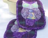 Pretty, Functional Potholders-Purple Owl Applique, Set of 2
