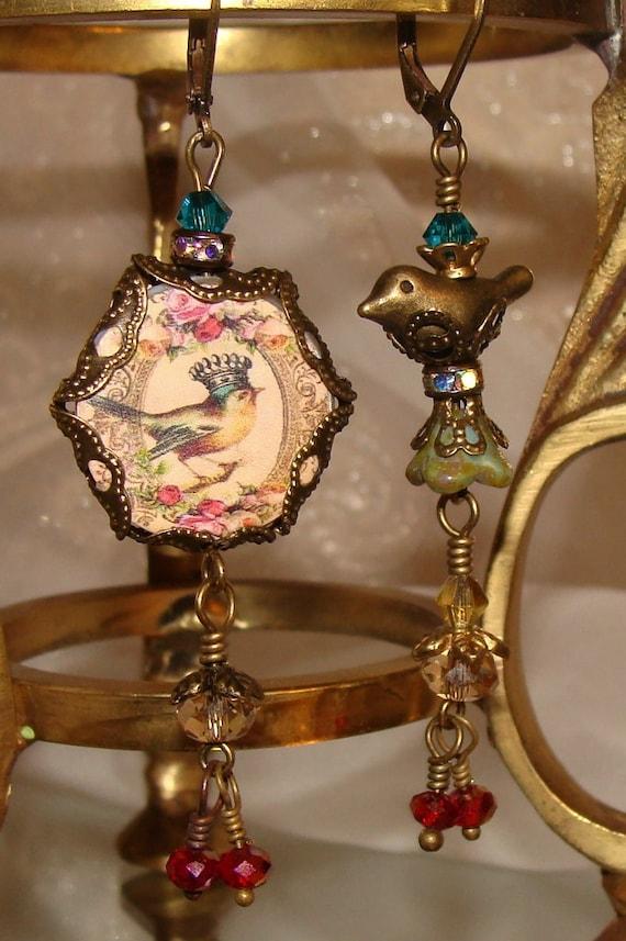 Victorian Bird Nest Asymmetrical Earrings