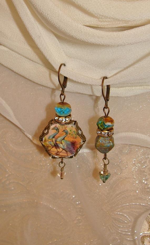 Peacock Picasso asymmetrical earrings