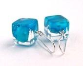 Hydrangea Resin Earrings.  Blue Resin Earrings. Pressed Flower Earrings.  Handmade Jewelry with Real Flowers -Hydrangea