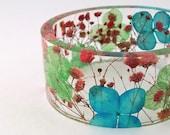 Size XXL  Botanical Resin Bangle. Contemporary Resin Bracelet.   Engraved Bracelet.  Personalized Plus Size Jewelry. Bridesmaids Anniversary