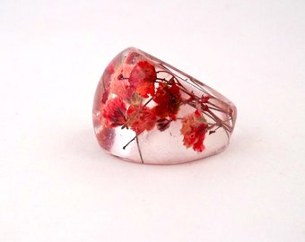 Red Resin Ring. Pressed Flower Resin Ring.  Cocktail Ring.  Handmade Jewelry with Real Flowers - Red Baby's Breath
