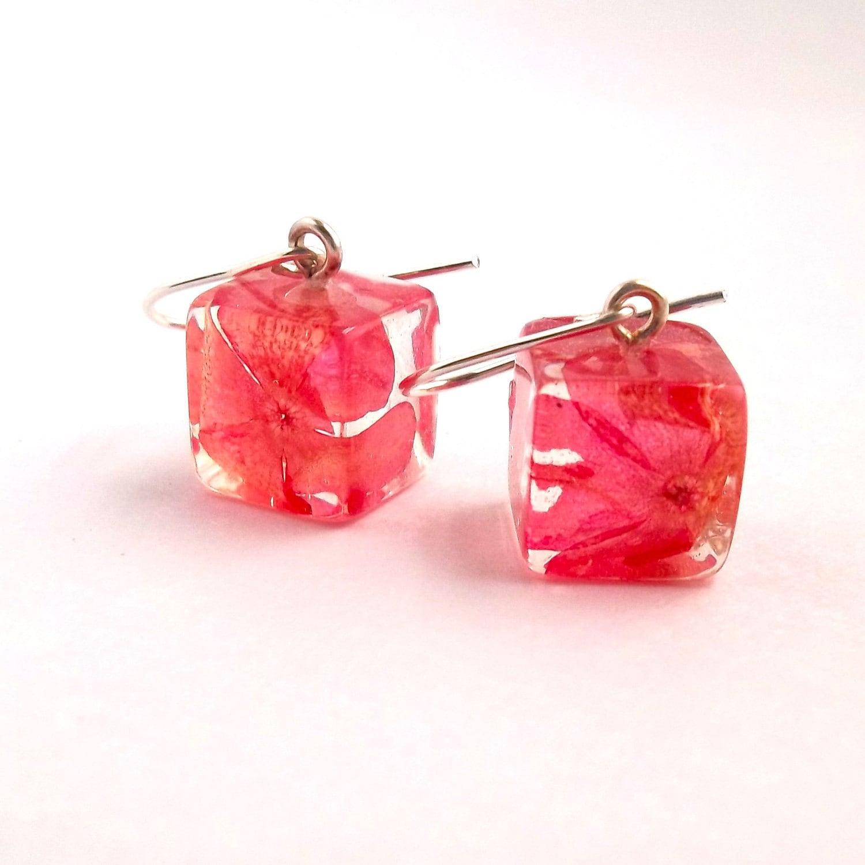 Botanical Resin Earrings Real Flower Earrings Pink Pressed