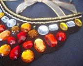Orange Rhinestone Necklace