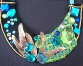 Lime Green and Turquoise Rhinestone Bib Necklace-SALE