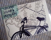 Lace and Bikes, screen printed blank card/envelope