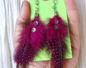 Hot Pink Polka Dotted Feather Earrings