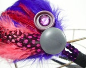 Purple and Hot Pink Polka Dotted Feather Headband