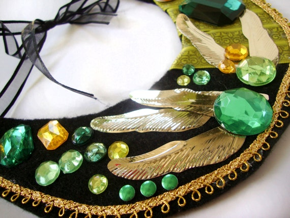 Green and Gold Feathers, Rhinestones Collar Necklace