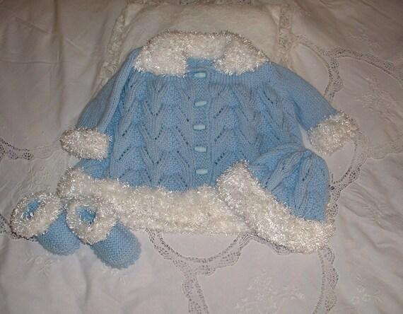 Blue fur trim  pram set