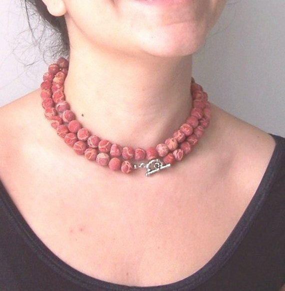 Coral necklace - holiday jewelry - Christmas gift - Red Sponge Coral Beads Charm Necklace Spring Fashion, Handmade Gift
