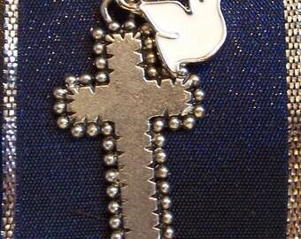 Handmade Metal Cross with Cream Dove