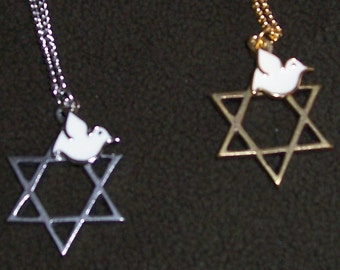 Handmade Star of David with matching Dove necklace