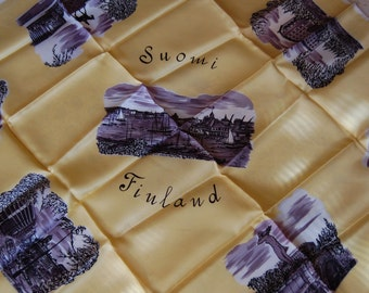 Vintage Souvenir from Finland Yellow  Scarf