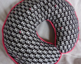 Boppy Cover White Skulls with Pink Girly Bows Nursing Pillow Cover