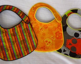 Baby Bibs set of 3 Halloween Baby Punk Rock Emo Gothic Rockabilly Rockstar Skull Baby Shower Gift Feeding Nursing Orange Green Baby Bib