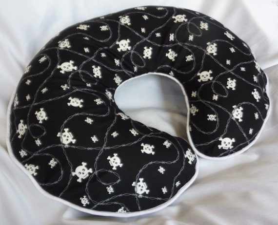 Black and White Skull and Barbwire Nursing Pillow Cover - fits Boppy pillows