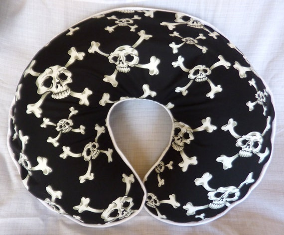 Black and White Skull and Crossbone Boppy Pillow Cover