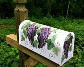 Hand Painted Mailbox with Purple GRAPES  and VINES - Designer Post Style Mailbox -