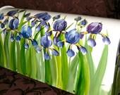 Purple Iris amid Green foliage  on a Hand Painted Mailbox