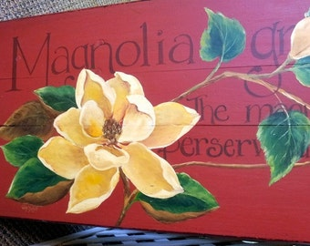 Ivory Magnolias Hand Painted on a Vintage Ironing Board