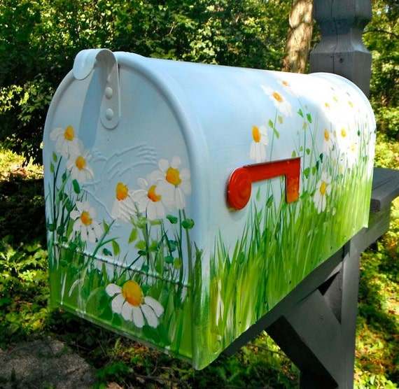 items similar to painted mailbox with daisies on a blue. Black Bedroom Furniture Sets. Home Design Ideas