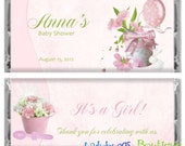 Pretty in Pink Baby Girl Shower Candy Bar Wrapper Announcement Party Favor