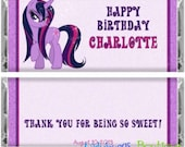 My Sparkle Pony Purple Happy Birthday Candy Bar Wrapper Party Favor