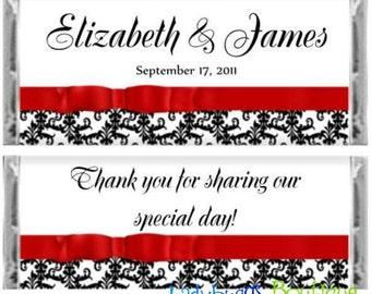 Damask Red Ribbon Bridal Shower Wedding Favor Candy Bar Wrapper Favor