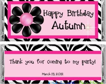 Pretty and Pink Zebra Happy Birthday Candy Bar Wrapper Party Favor