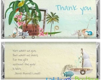 By the Sea Thank You Candy Bar Wrapper Birthday Favor