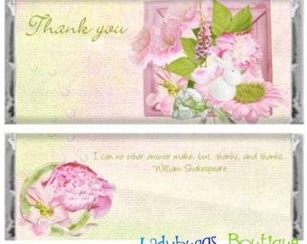 Shades of Pink Thank You Candy Bar Wrapper Party Shower Favor