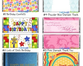 Happy Birthday Thank You Candy Bar Wrapper Variety Pack Party Favor Card Gift