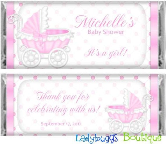 pink baby carriage baby shower candy bar wrapper party favor