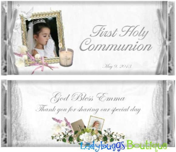 Silver And Gold First Communion Baptism Photograph Candy Bar