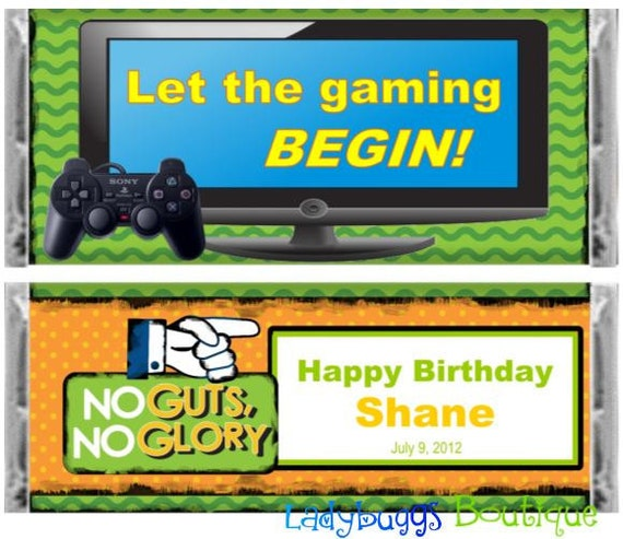 Video Game Gaming Happy Birthday Candy Bar Wrapper Party Favor