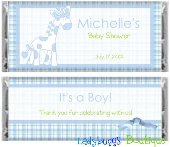 baby blue giraffe boy baby shower candy bar wrapper party
