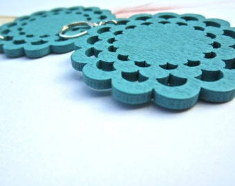 turquoise blue, summer Earrings,  Wood Earrings laser cut,  caribbean blue,  perfect for summer. bright color earrings