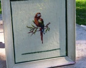 vintage SCARLET MACAW NEEDLEPOINT (13 1\/2 X 15 inches)