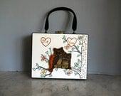 vintage Wooden Owl Box Handbag