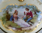 European Covered Vanity Bowl // Painted Victorian Lovers