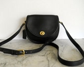 Coach Messenger Cross Body Bag // Small Black Leather