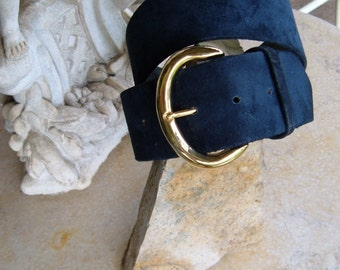 vintage NAVY SUEDE BELT (GayBoyer New York)